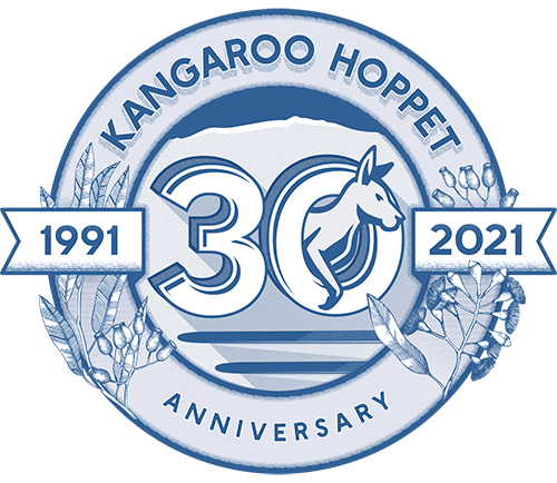 30 years blue Hoppet logo